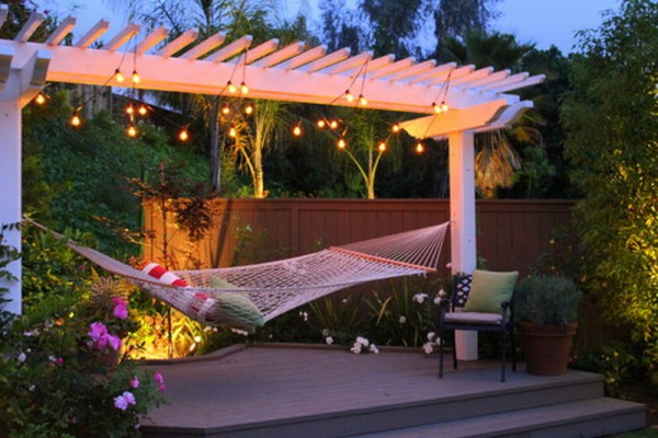 Don't have equally-spaced trees for your hammock? Patios work just as well.