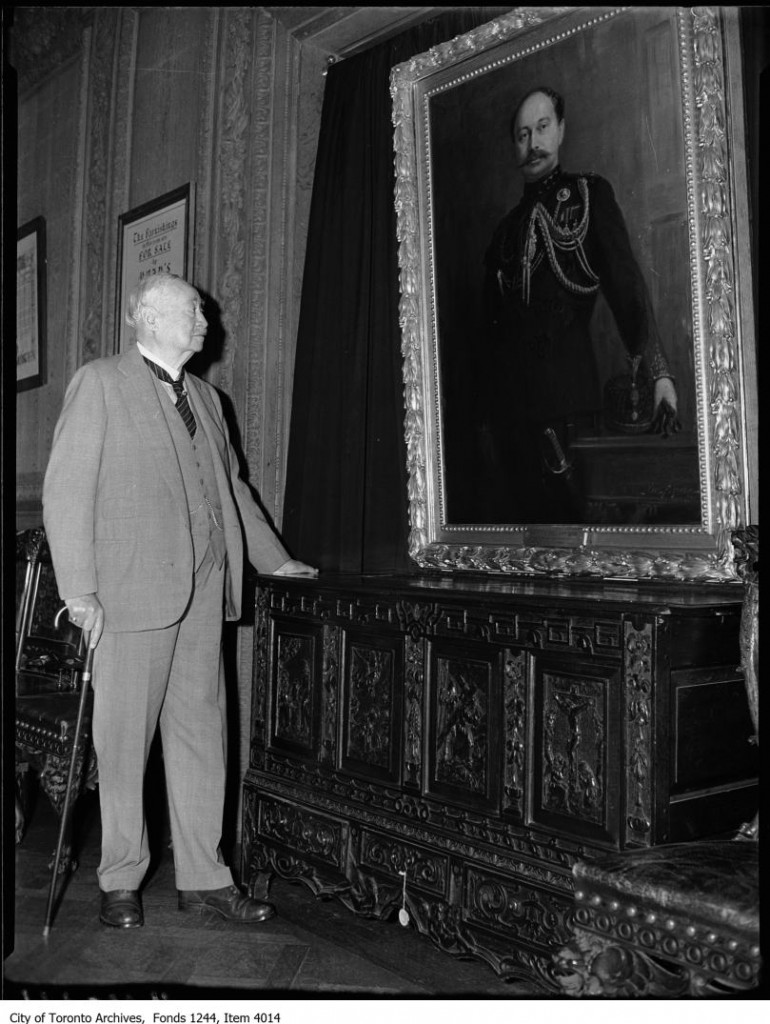 Sir Henry Pellatt views his own portrait at Casa Loma. - [ca. 1930]